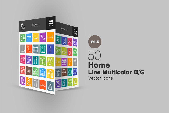 Thumbnail for 50 Home Line Multicolor Icons