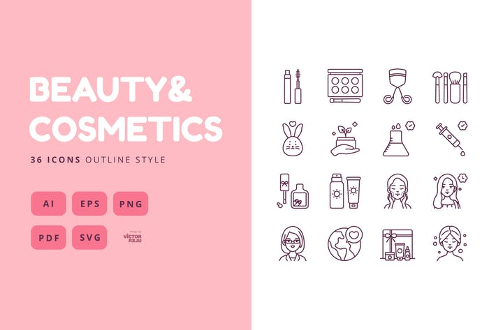 36 Icons Beauty&Cosmetics Outline Style