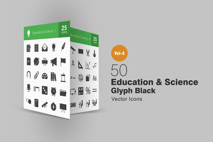 50 Education & Science Glyph Icons