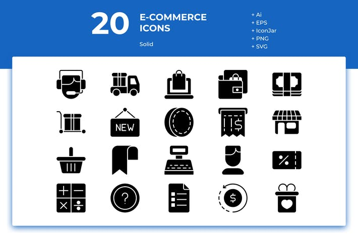 Thumbnail for 20 E-commerce Icons (Solid)