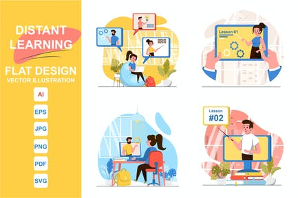 Illustrations Distant Learning Flat Design Concept