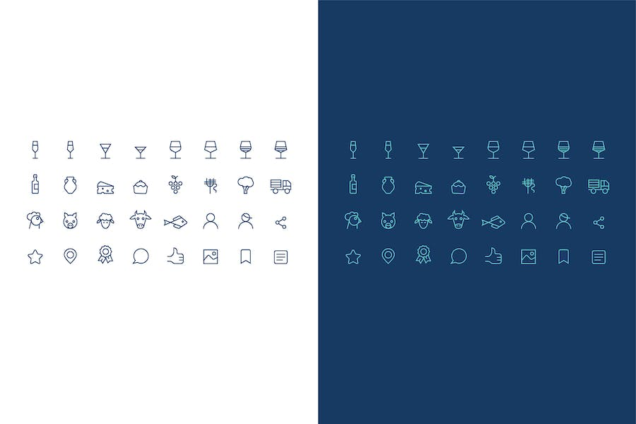icons set about wine, alcohol and food