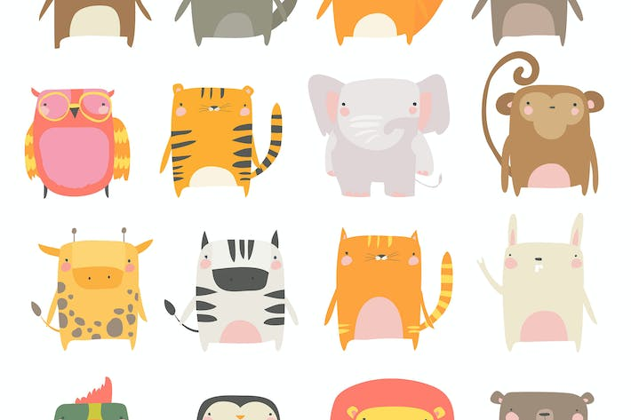Thumbnail for Vector set of cute animals white background