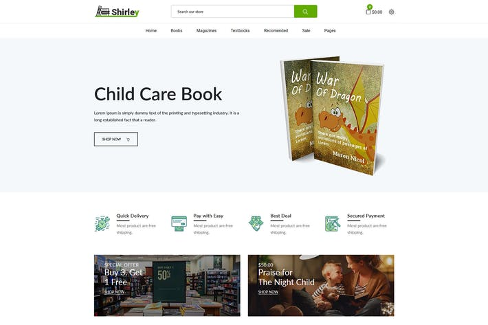 Thumbnail for Shirley – Book Store Shopify Theme