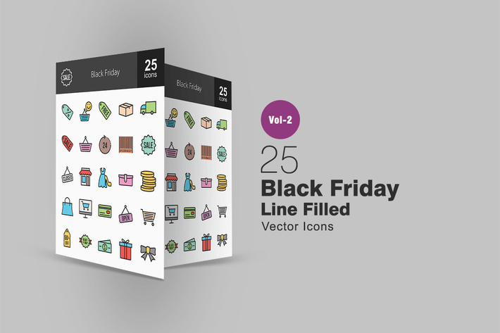 Thumbnail for 25 Black Friday Line Filled Icons