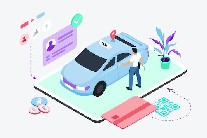 Réservation Taxi par Digital Wallet Isométrique