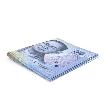 Thai Baht Banknoten Kleiner gefalteter Stapel