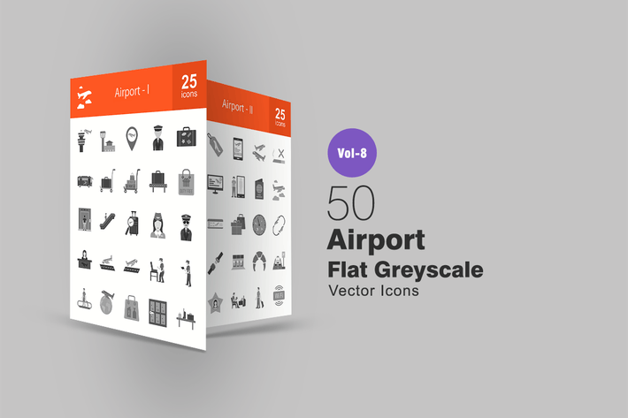 Thumbnail for 50 Airport Flat Greyscale Icons