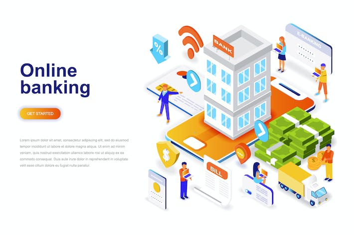 Cover Image For Online Banking Isometric Concept