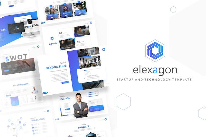 Thumbnail for Elexagon Пуск Шаблон PowerPoint