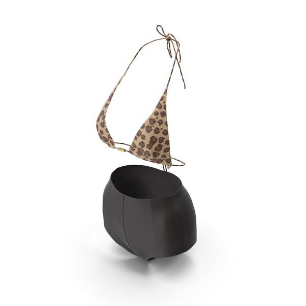 Женский купальник черный леопард