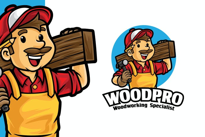 Thumbnail for Carpentry Wood Working Logo Mascot Template