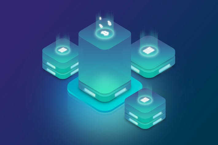 Isometric Ico Cryptocurrency Server Illustrations