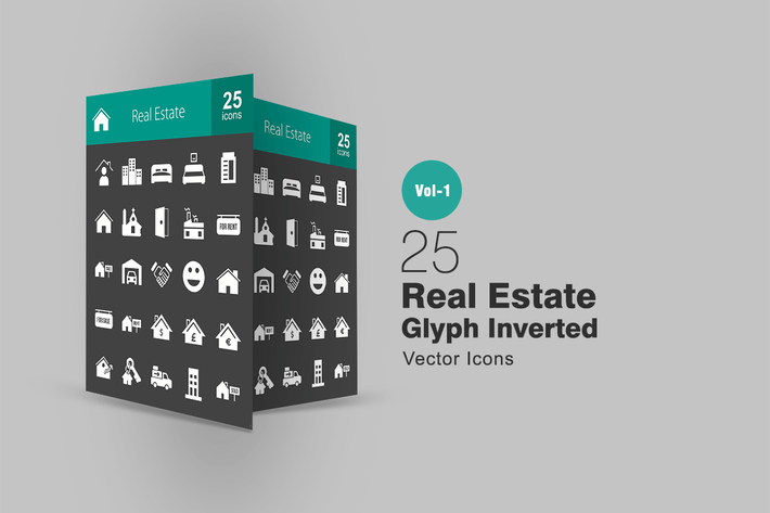 Thumbnail for 25 Real Estate Glyph Inverted Icons