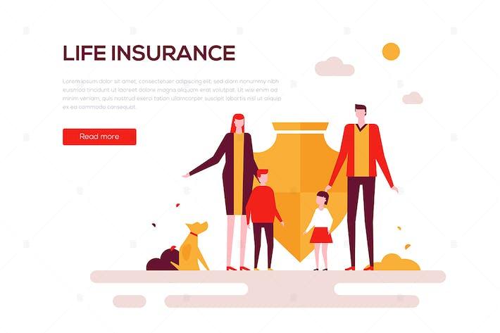 Life insurance - flat design style web banner