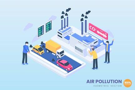 Concepto de contaminación atmosférica isométrica