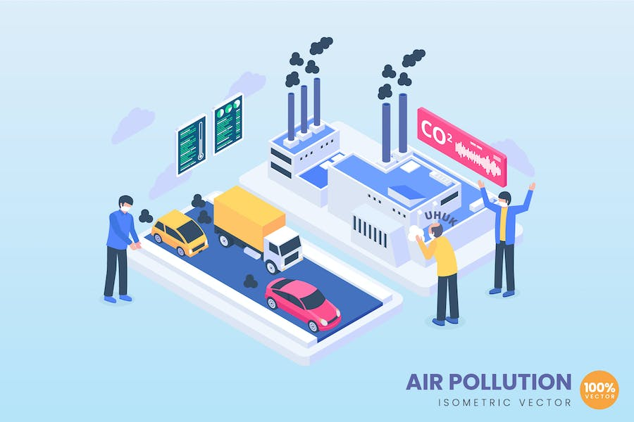 isometric Air Pollution Concept
