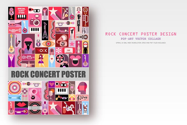 Thumbnail for Rock Concert Poster design, vector artwork
