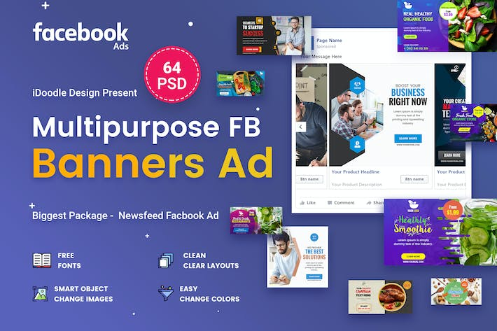 Thumbnail for Multipurpose Facebook Banner Ads - 64 PSD