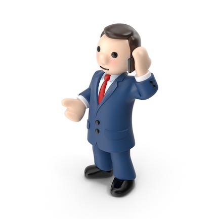 Karikatur-Geschäftsmann mit Telefon