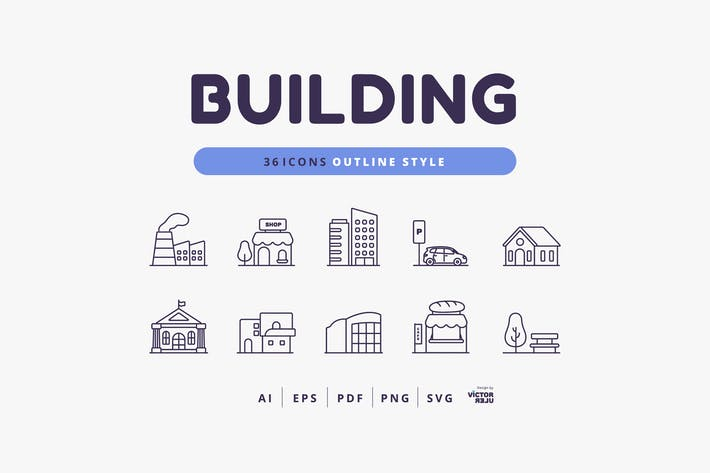 Thumbnail for 36 Icons Building Outline Style