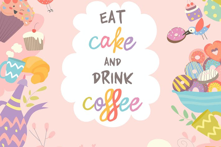 Thumbnail for Cute frame composed of cup, cake and coffee.