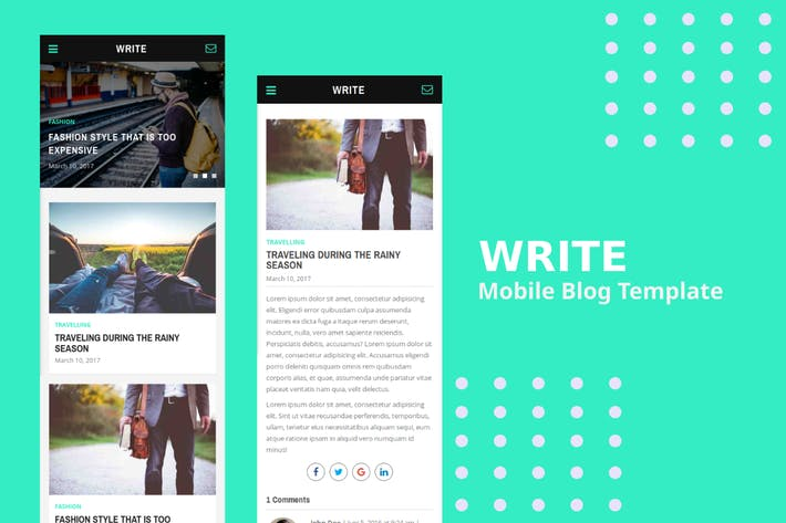 Thumbnail for Write - Mobile Blog Template