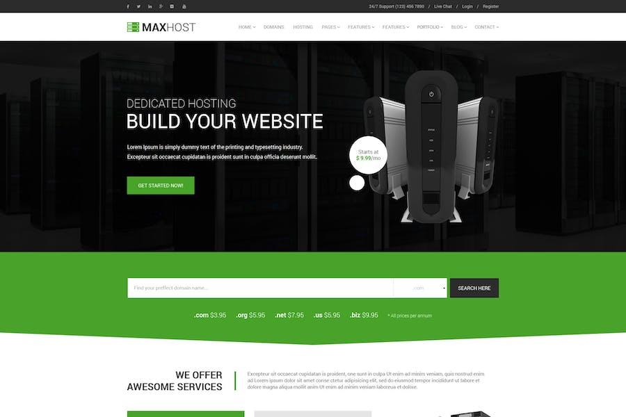 MaxHost - Профессиональный Шаблон веб-хостинга