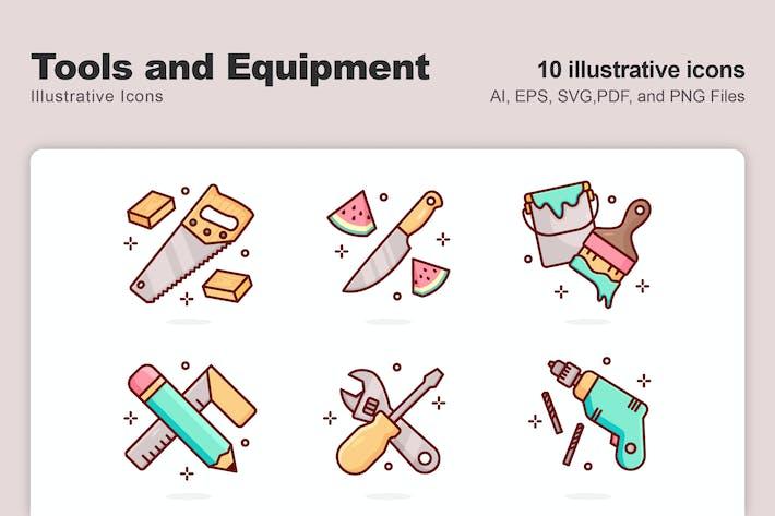 Illustrative Icons für Werkzeuge und Geräte