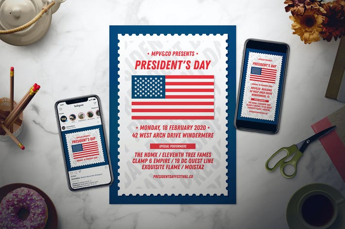 Cover Image For President's Day Flyer Set