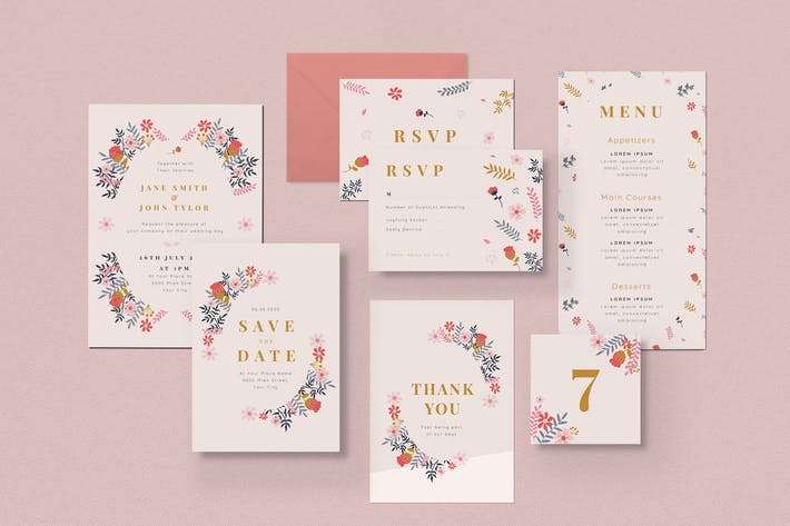 Thumbnail for Floral Wedding Invitation Pack