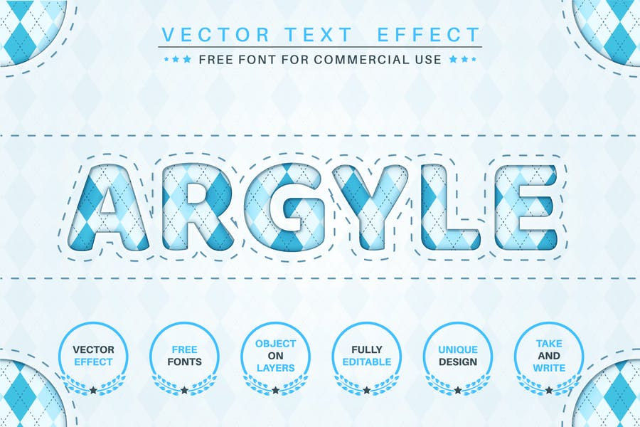 Argyle - editable text effect,  font style.