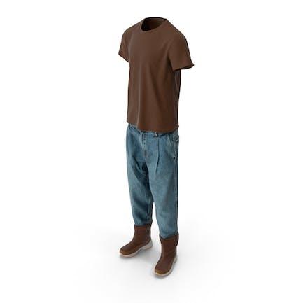 Herren Jeansstiefel T-shirt Braun Blau