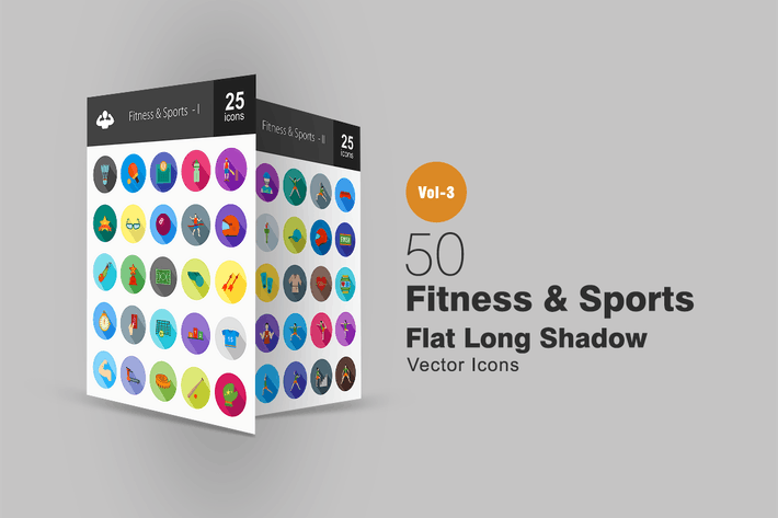 Cover Image For 50 Fitness & Sports Flat Shadowed Icons