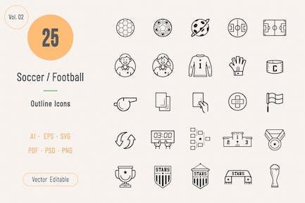 Soccer / Football Outline Icons Volume 02