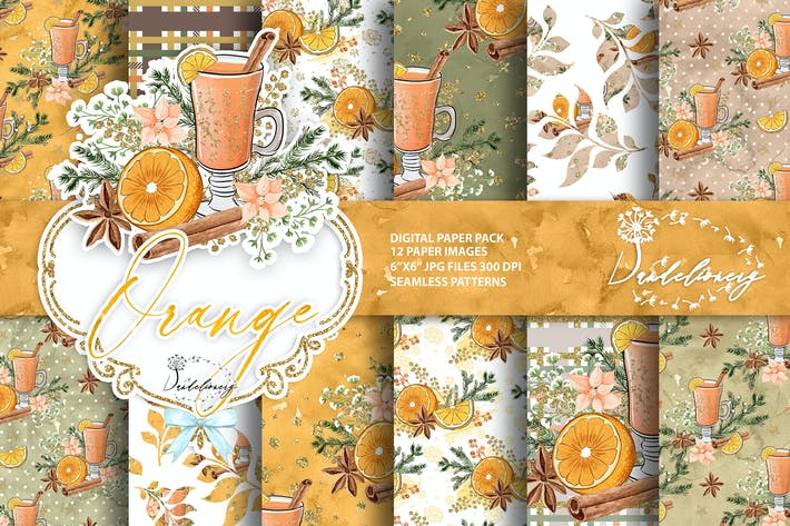 Thumbnail for Christmas Orange digital paper pack