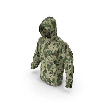 Зеленый военный капюшон куртки