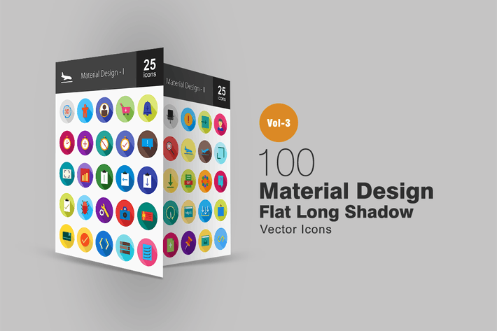 Thumbnail for 100 Material Design Flat Shadowed Icons