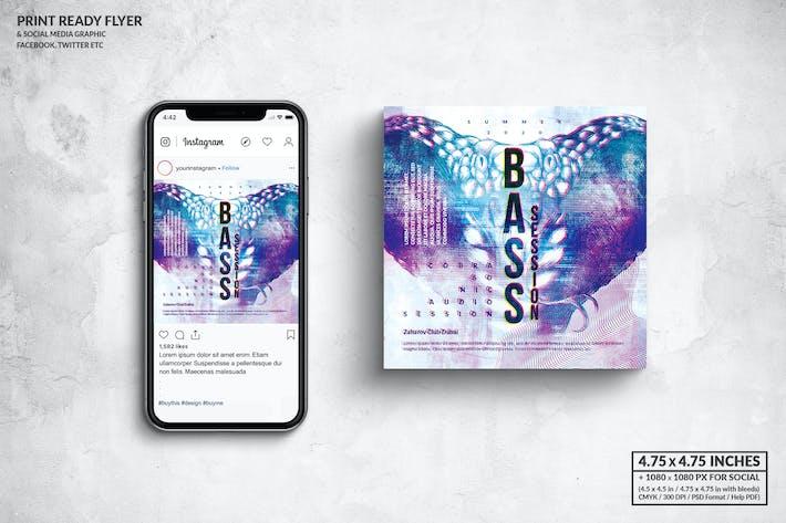 Thumbnail for Bass Music Square Флаер & Сообщение в социальных сетях