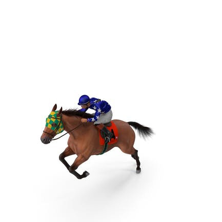 Jumping Bay Racing Horse with Jokey Fur