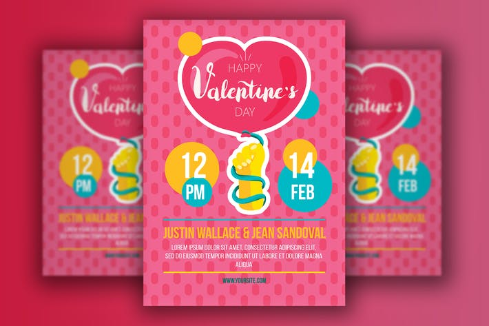 Thumbnail for Cartoon Valentinstag Flyer