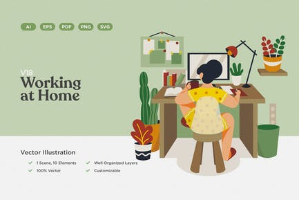 Working at Home Vector Illustration