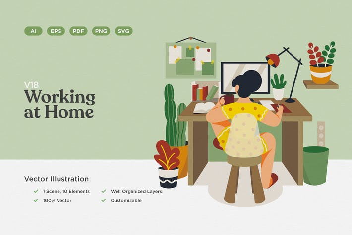 Thumbnail for Working at Home Vector Illustration