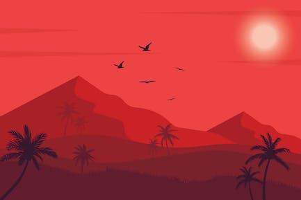 Desert Sunset - Landscape Illustration