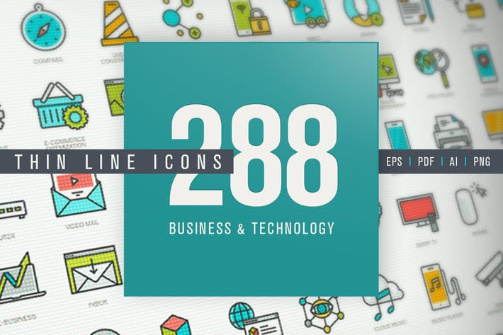 Thumbnail for Set of Thin Line Icons for Business and Technology