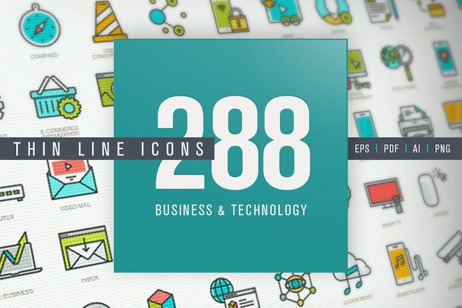 Set von Thin Line Icons für Unternehmen und Technologie