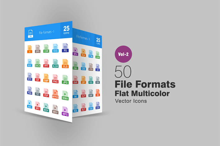 Thumbnail for 50 Dateiformate Flach Multicolor Icons