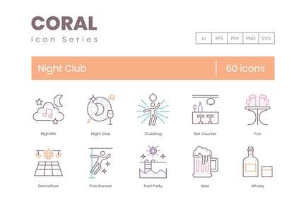 60 Night Club Line Icons