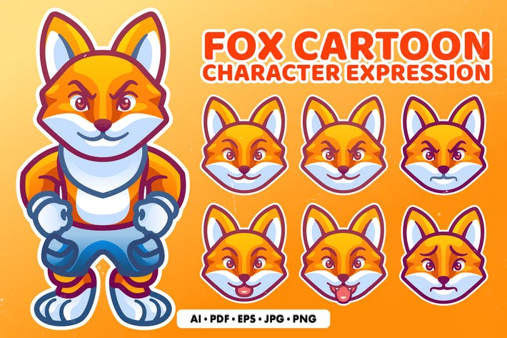 Fox Cartoon Character Expression