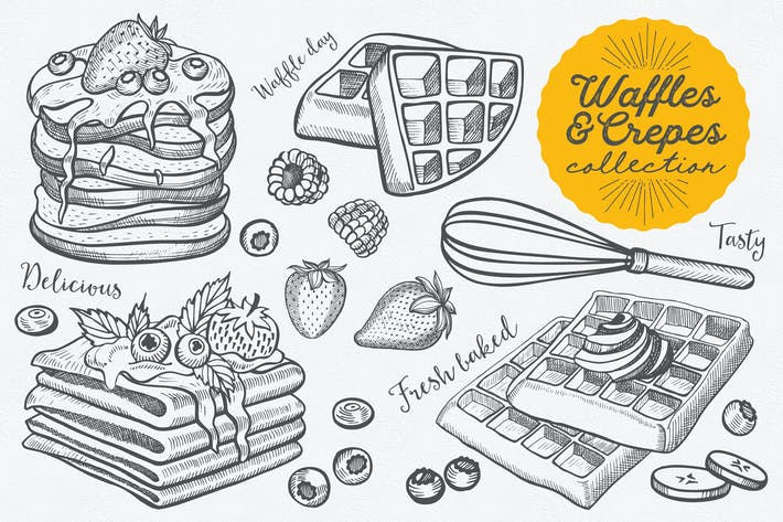 Thumbnail for Waffles And Crepes Hand-Drawn Graphic